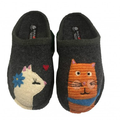 CATSINLOVE - HAFLINGER woman's slipper in boiled wool  shopping online Naturalshoes.it