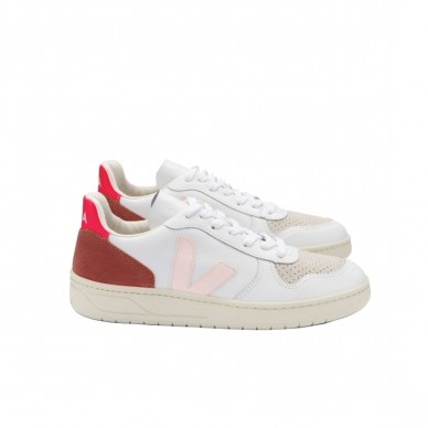 VX022292 - Veja V-10 white-petale-rose-fluo in vendita su Naturalshoes.it