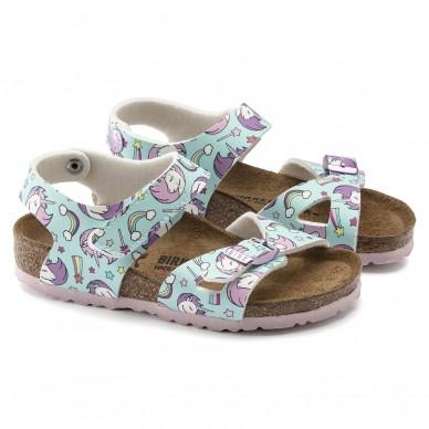 COLORADO (BIRKO-FLOR KIDS) - BIRKENSTOCK girl's sandal with two bands and adjustable straps shopping online Naturalshoes.it
