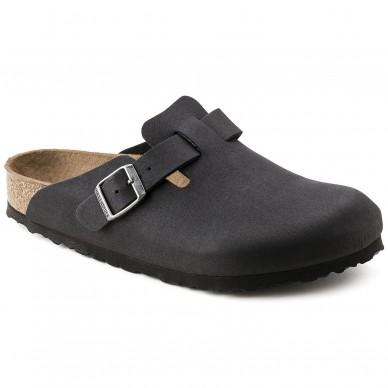 BIRKENSTOCK Mikrofaser-Sabot für Damen und Herren mit verstellbarer Schnalle des Modells BOSTON in vendita su Naturalshoes.it