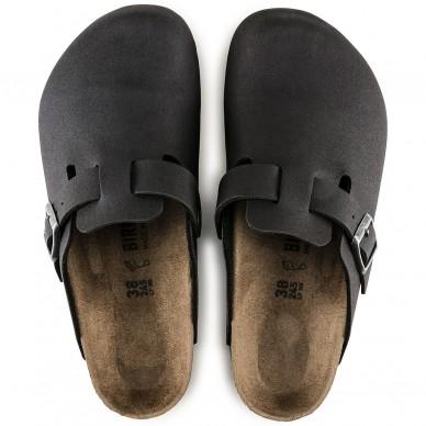 BOSTON - Sabot in microfibra da uomo e da donna con fibbia regolabile del marchio BIRKENSTOCK - MICROFASER in vendita su Naturalshoes.it