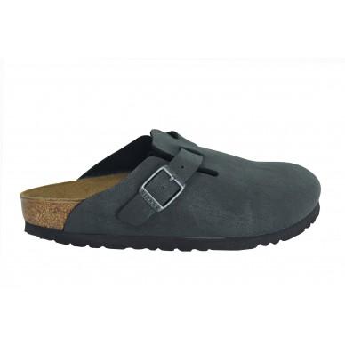 BIRKENSTOCK Sabot aus Kunstleder (Birko-Flor) für Damen und Herren mit verstellbarer Schnalle des Modells BOSTON in vendita su Naturalshoes.it