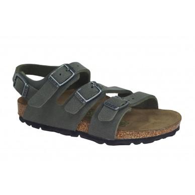 Sandalo da bambino a tre fasce regolabili del marchio BIRKENSTOCK modello CANBERRA in vendita su Naturalshoes.it