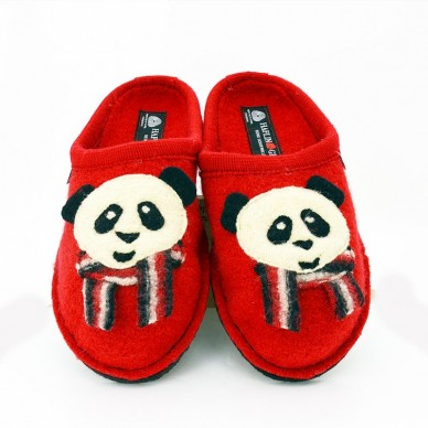 HAFLINGER Frauen Slipper aus gekochter Wolle - PANDA in vendita su Naturalshoes.it
